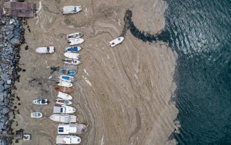 epaselect epa09247109 An aerial photo made with a drone shows fishing boats on the Marmara sea covered by sea snot in Istanbul, Turkey, 04 June 2021. Because of global heating, blanket of mucus-like substance in Marmara sea increasing day by day threatens fishing industry and the environment. Sea snot is formed as a result of the proliferation of microalgae called phytoplankton in the sea. The biggest reason for this is that the water temperature in the Marmara sea is 2.5 degrees above the average of the last 40 years.  EPA/ERDEM SAHIN