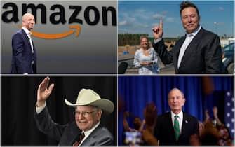 Il fondatore di Amazon Jeff Bezos, il fondatore di Tesla Elon Musk, il finanziere Warren Buffett. il miliardario Michael Bloomberg