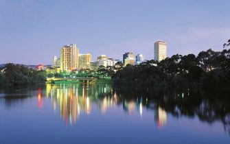 Torrens river at sunset, Adelaide, South Australia, Australia.
