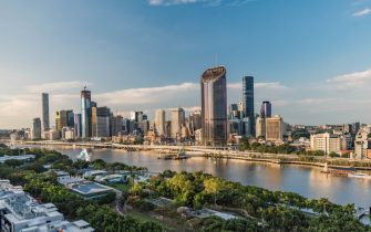 A general view of Brisbane city skyline   during the coronavirus outbreak Southbank. Queensland takes strict new lockdown rules to stop the spread of Covid-19.//SOPAIMAGES_1419023/2004011505/Credit:Florent Rols / SOPA Image/SIPA/2004011507