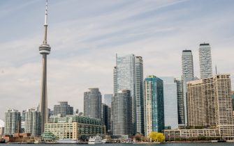 TORONTO, ONTARIO, CANADA - 2021/04/24: A view of the Skyline in downtown Toronto from Ward Island. (Photo by Shawn Goldberg/SOPA Images/LightRocket via Getty Images)