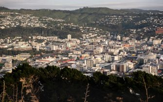 The city's skyline is seen from an observation deck at Mount Victoria Lookout in Wellington, New Zealand, on Wednesday, July 29, 2020. New Zealand's border is closed to all foreigners, while citizens and permanent residents entering the country must undertake a 14-day mandatory quarantine.Photographer: Birgit Krippner/Bloomberg