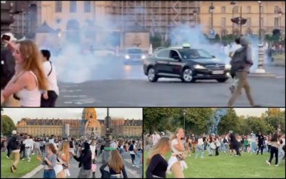 Covid, a Parigi maxi festa a Les Invalides: polizia usa i lacrimogeni