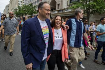 U.S. Vice President Kamala Harris, center right, and Second Gentleman Doug Emhoff, center left, attend the Capitol Pride Walk and Rally in Washington, D.C., U.S., on Saturday, June 12, 2021. The enormity of Harris's task to curb migration from Central America became clear during a two-day visit to Guatemala and Mexico this past week, where her modest offerings of U.S. aid were overshadowed by political attacks from Washington. Photographer: Tasos Katopodis/UPI/Bloomberg via Getty Images