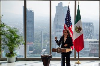 US Vice President Kamala Harris speaks during a press conference at the Sofitel Mexico City Reforma in Mexico City on June 8, 2021. - The trip is part of the Biden administration's promise to implement a more humane immigration policy after the hardline approach taken by his predecessor Donald Trump. (Photo by JIM WATSON / AFP) (Photo by JIM WATSON/AFP via Getty Images)