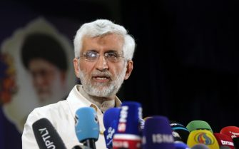 TEHRAN, IRAN - MAY 15: Saeed Jalili, Member of the Iran's Supreme National Security Council speaks to media after registering his candidacy for Iran's presidential elections, at the Interior Ministry in Tehran, Iran on May 15, 2021. Candidature applications continue in Iran for the Presidential elections to be held on June 18. (Photo by Fatemeh Bahrami/Anadolu Agency via Getty Images)