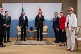 GENEVA, SWITZERLAND - JUNE 15: Swiss Federal president Guy Parmelin, center right, and US president Joe Biden, center left, stand with their delegations, from right, Swiss State Secretaries Livia Leu and Marie-Gabrielle Ineichen-Fleisch, and Federal councillor Ignazio Cassis, and from left, US National Security Advisor Jake Sullivan and US Secretary of State Antony Blinken, on the sidelines of the US - Russia summit on June 15, 2021 in Geneva, Switzerland. The meeting between US President Joe Biden and Russian President Vladimir Putin is scheduled in Geneva for Wednesday, June 16, 2021. (Photo by Alessandro della Valle - Pool/Keystone via Getty Images)