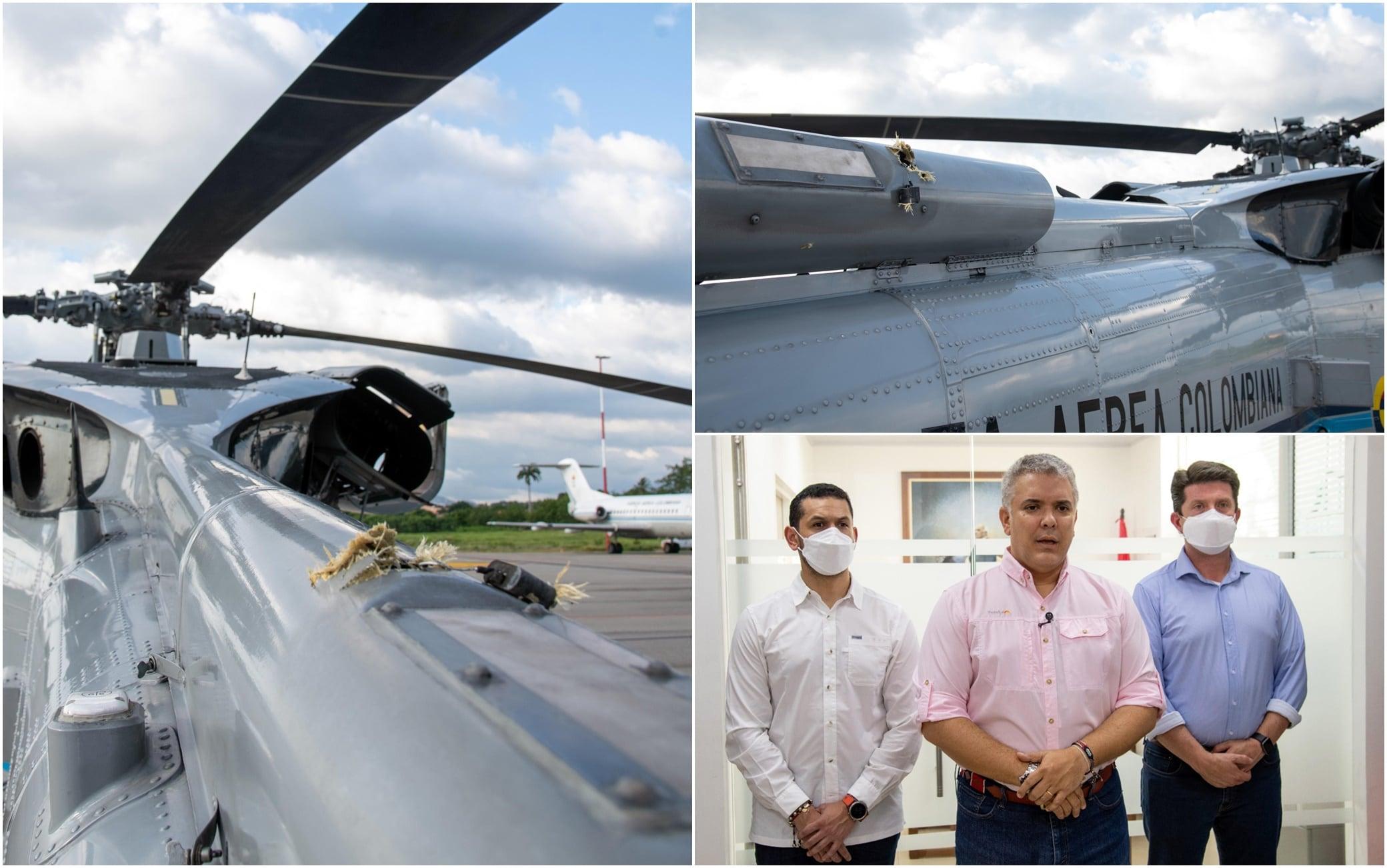 L'elicottero del presidente della Colombia colpito