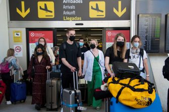 epa09252949 Tourists arrive to Son Sant Joan Airport in Palma Majorca, Balearic Islands, Spain, 07 June 2021. Starting from 07 June Spain will allow all vaccinated visitors to enter, in an attempt to revitalize the touristim sector. European travelers, who require a negative RT-PCR test to enter the country, are now allowed to enter with a cheaper antigen test.  EPA/CATI CLADERA
