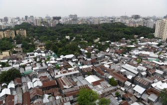 A top view part of Mohakhali Sat Tala slum in Dhaka. According to World Bank, each year up to half million rural migrants stream into capital city Dhaka for work, swelling the rank of the urban poor. (Photo by Piyas Biswas / SOPA Images/Sipa USA)
