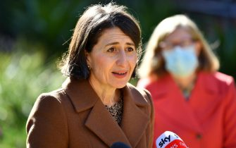 epa09304786 New South Wales (NSW) Premier Gladys Berejiklian attends a press conference in Sydney, Australia, 27 June 2021. More than five million people in Greater Sydney, the Blue Mountains, the Central Coast and Wollongong entered a two-week lockdown amid a surge in COVID-19 cases.  EPA/JOEL CARRETT AUSTRALIA AND NEW ZEALAND OUT