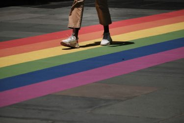 NEW YORK, NEW YORK - JUNE 25: A pedestrian walkway is painted in rainbow colors at Rockefeller Center as the city celebrates Pride Month on June 25, 2021 in New York City. After being cancelled last year due to the COVID-19 pandemic, New York City will celebrate Pride both in-person and virtually with events throughout the weekend. (Photo by Spencer Platt/Getty Images)