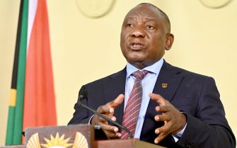 epa09306459 A handout photo made available by the South African Government Communications and Information Systems (GCIS) shows President Cyril Ramaphosa announcing new restrictions in an attempt to slow a third wave of Covid-19 across the country, in Pretoria, South Africa, 27 June 2021. South African President Ramaphosa announced the country will move to adjusted alert level 4 with travel in and out of the epicenter Gauteng Province restricted as the country struggles to contain a third wave with a rapidly spreading Delta variant of the Sars-Cov-2 coronavirus that causes the Covid-19 disease.  EPA/Elmond Jiyane/GCIS/ HANDOUT  HANDOUT EDITORIAL USE ONLY/NO SALES