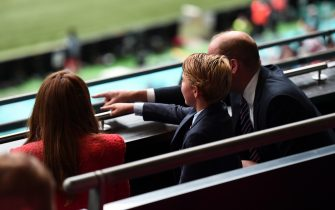 LONDON, ENGLAND - JUNE 29: Prince William, President of the Football Association along with Catherine, Duchess of Cambridge and Prince George during the UEFA Euro 2020 Championship Round of 16 match between England and Germany at Wembley Stadium on June 29, 2021 in London, England. (Photo by Eamonn McCormack - UEFA/UEFA via Getty Images)