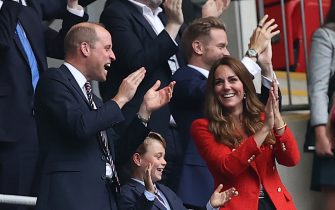29 June 2021, United Kingdom, London: Football: European Championship, England - Germany, final round, round of 16 at Wembley Stadium. The British Prince William, Duke of Cambridge, his wife Kate, Duchess of Cambridge, and their son Prince George celebrate the 1:0. Photo: Christian Charisius/dpa (Photo by Christian Charisius/picture alliance via Getty Images)