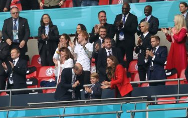 LONDON, ENGLAND - JUNE 29: Prince William, President of the Football Association and Prince George along with Catherine, Duchess of Cambridge celebrate during the UEFA Euro 2020 Championship Round of 16 match between England and Germany at Wembley Stadium on June 29, 2021 in London, England. (Photo by Carl Recine - Pool/Getty Images)