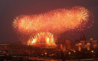 This photo taken on June 28, 2021 shows fireworks exploding during an art performance held at the Bird's Nest national stadium to mark the upcoming 100th anniversary of the founding of the Chinese Communist Party, in Beijing. - China OUT (Photo by STR / AFP) / China OUT (Photo by STR/AFP via Getty Images)