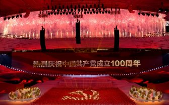 Fireworks explode during a Cultural Performance as part of the celebration of the 100th Anniversary of the Founding of the Communist Party of China, at the Bird's nest national stadium in Beijing on June 28, 2021. - The 100th anniversary is scheduled for July 1. (Photo by NOEL CELIS / AFP) (Photo by NOEL CELIS/AFP via Getty Images)