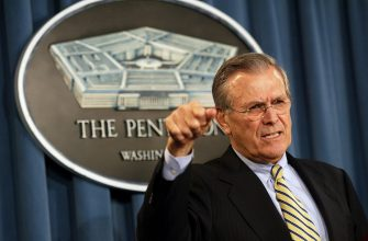 epa09314276 (FILE) - US Secretary of Defence Donald Rumsfeld answers a question from the news media during a press conference Tuesday 06 January 2004 (reissued 30 June 2021). According to his family, Donald Rumsfeld has died aged 88 on 29 June 2021.  EPA/Shawn Thew *** Local Caption *** 99494616