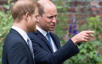 The Duke of Cambridge (right) and Duke of Sussex during the unveiling of a statue they commissioned of their mother Diana, Princess of Wales, in the Sunken Garden at Kensington Palace, London, on what would have been her 60th birthday. Picture date: Thursday July 1, 2021.
