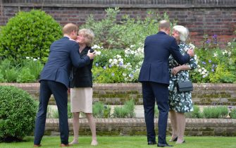 The Duke of Sussex (left) and the Duke of Cambridge (second right) greet their aunts Lady Sarah McCorquodale (second left) and Lady Jane Fellowes (right) ahead of the unveiling of a statue they commissioned of their mother Diana, Princess of Wales, in the Sunken Garden at Kensington Palace, London, on what would have been her 60th birthday. Picture date: Thursday July 1, 2021.
