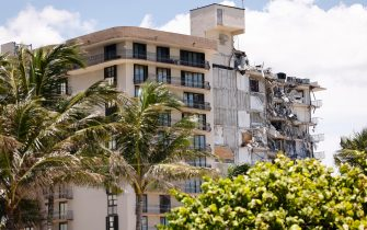 SURFSIDE, FLORIDA - JULY 03: A general view of the partially collapsed 12-story Champlain Towers South condo building on July 03, 2021 in Surfside, Florida. Over one hundred people are being reported as missing as the search-and-rescue effort continues. (Photo by Michael Reaves/Getty Images)