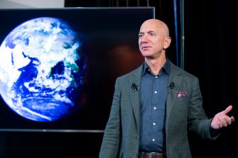 (FILE) - Founder and CEO of Amazon Jeff Bezos participates in the unveiling of an Amazon environmental initiative entitled 'The Climate Pledge', in Washington, DC, USA, 19 September 2019. ANSA/MICHAEL REYNOLDS