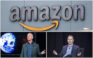 Jeff Bezos durante la presentazione di un progetto Amazon