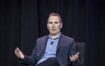 Andy Jassy, chief executive officer of web services at Amazon.com Inc., speaks during the Amazon Web Services (AWS) Summit in San Francisco, California, U.S., on Wednesday, April 19, 2017. Jassy is leading a push into artificial intelligence to boost Amazon's cloud computing, which commands about 45 percent of the market for infrastructure as a service, where companies buy basic computing and storage power from the cloud. Photographer: David Paul Morris/Bloomberg