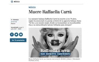 Raffaella Carrà è morta: la notizia sui siti di tutto il mondo tra cui El Mundo
