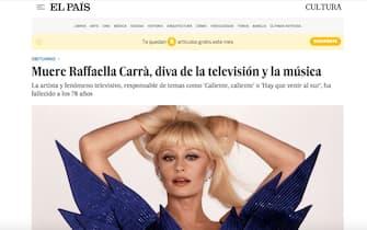 Raffaella Carrà è morta: la notizia sui siti di tutto il mondo tra cui El Pais