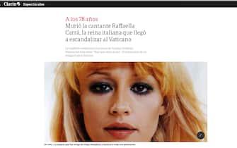 Raffaella Carrà è morta: la notizia sui siti di tutto il mondo tra cui Clarin