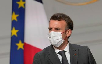 epa09339859 France's President Emmanuel Macron meets French carmakers at the Elysee Palace in Paris, France, 12 July 2021. Macron is hosting a top-level virus security meeting on 12 July morning and then giving a televised speech in the evening, the kind of solemn speech he's given at each turning point in France's virus epidemic.  EPA/MICHEL EULER / POOL MAXPPP OUT