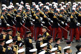Pupils of the Special Military School of Saint-Cyr (Ecole speciale militaire de Saint-Cyr)  march during the annual Bastille Day military parade on the Champs-Elysees avenue in Paris on July 14, 2021. (Photo by Bertrand GUAY / AFP) (Photo by BERTRAND GUAY/AFP via Getty Images)