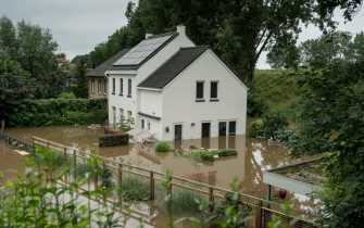 GEULLE, NETHERLANDS - JULY 16: House pictured in a flooded street on July 16, 2021 in Geulle, Netherlands. The flooding has been caused by unusually heavy rain in the hilly parts of Germany and the Ardennes region in Belgium. In Germany the death toll has now passed 100 with dozens more missing. Rescue and evacuation operations are now underway in tricky conditions across the affected regions. (Photo by Sanne Derks/Getty Images)