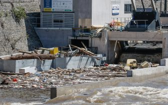 Illustration picture shows the Angleur hydro-electric plant in Angleur, Liege, where heavy rainfall caused severe floods, Sunday 18 July 2021. Days of extreme weather has davestated parts of the East and South of Belgium. So far 27 persons died in Belgium and 103 are presumed missing. BELGA PHOTO BRUNO FAHY (Photo by BRUNO FAHY/Belga/Sipa USA)