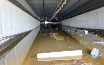 """Illustration shows damage in the """"Grosses Battes tunnel"""" during a visit of the Sofico, the Walloon public service for the roads, in Angleur, Liege, on the consequences of the heavy rainfall who caused severe floods, Sunday 18 July 2021. Days of extreme weather has davestated parts of the East and South of Belgium. So far 27 persons died in Belgium and 103 are presumed missing. Part of highway E25-E40 and A602 is still closed. BELGA PHOTO BRUNO FAHY (Photo by BRUNO FAHY/BELGA MAG/AFP via Getty Images)"""