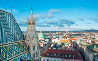 Elevated view from St. Stephens Cathedral (Stephansdom) North tower in Vienna, Austria.