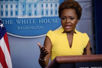 White House Deputy Press Secretary Karine Jean-Pierre speaks during a press briefing in the Brady Briefing Room of the White House in Washington, DC on May 26, 2021. (Photo by Nicholas Kamm / AFP) (Photo by NICHOLAS KAMM/AFP via Getty Images)