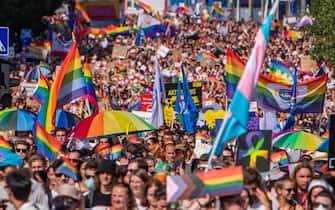I partecipanti al Gay Pride di Budapest