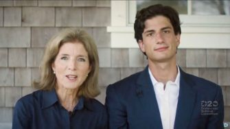 MILWAUKEE, WI - AUGUST 18: In this screenshot from the DNCCâ  s livestream of the 2020 Democratic National Convention, Former U.S. Ambassador to Japan and daughter of President John F. Kennedy Caroline Kennedy and son Jack Schlossberg, grandson of President John F. Kennedy speak during the virtual convention on August 18, 2020.  The convention, which was once expected to draw 50,000 people to Milwaukee, Wisconsin, is now taking place virtually due to the coronavirus pandemic.  (Photo by DNCC via Getty Images)  (Photo by Handout/DNCC via Getty Images)