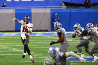 DETROIT, MICHIGAN - DECEMBER 26: Tom Brady #12 of the Tampa Bay Buccaneers throws the ball during the second quarter of a game against the Detroit Lions at Ford Field on December 26, 2020 in Detroit, Michigan. (Photo by Rey Del Rio/Getty Images)