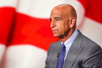 Thomas Barrack, founder and chairman of Colony Capital LLC, listens during a Bloomberg Television interview in New York, U.S., on Monday, July 18, 2016. Barrack explained his support for presumptive Republican presidential candidate Donald Trump. Photographer: Chris Goodney/Bloomberg via Getty Images