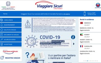 Schermata iniziale del sito viaggiare sicuri