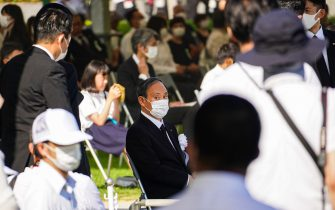 Japan's Prime Minister Yoshihide Suga attends a commemoration at Peace Memorial Park, as Hiroshima marks the 76th anniversary of the atomic bombing.  The atomic bombing which killed about 150,000 people and destroyed the entire city for the first bombing with a nuclear weapon in a war. (Photo by Jinhee Lee / SOPA Images/Sipa USA)