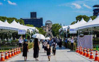 A commemoration was held at Peace Memorial Park as Hiroshima marks the 76th anniversary of the atomic bombing.  The atomic bombing which killed about 150,000 people and destroyed the entire city for the first bombing with a nuclear weapon in a war. (Photo by Jinhee Lee / SOPA Images/Sipa USA)