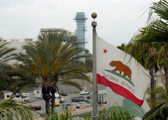 BURBANK, CA - JUNE 24: The California state flag flies near the Burbank Water and Power natural gas-fueled power plant on June 24, 2013 in Burbank, California. In a speech at Georgetown University on June 25, U.S. President Barack Obama  will unveil a national climate change plan for reducing carbon pollution.  (Photo by Kevork Djansezian/Getty Images)