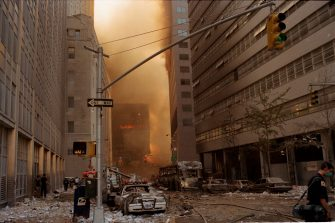 NEW YORK, NEW YORK - SEPTEMBER 11: The streets of downtown New York are covered in debris after both World Trade Towers collapsed from a terrorist attack on September 11, 2001 in New York City. (Photo by Andrew Lichtenstein/Corbis via Getty Images)