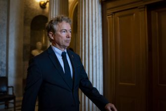 Senator Rand Paul, a Republican from Kentucky, departs following a vote in the U.S. Capitol in Washington, D.C., U.S., on Tuesday, Aug. 3, 2021. The Senate majority leader's plan to pass a $550 billion infrastructure bill this week hit a potential obstacle from a surprising source when a key Republican announced he tested positive for Covid-19 and would quarantine for 10 days. Photographer: Al Drago/Bloomberg via Getty Images