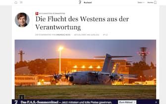 Afghanistan, il titolo del Frankfurter Allgemaine Zeitung